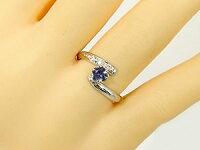 アイオライトリングダイヤモンド指輪ピンキーリングホワイトゴールドk1818金ダイヤストレートファッションリング