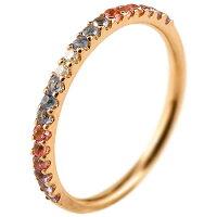 ハーフエタニティリングアメジストダイヤモンドピンキーリング指輪ピンクゴールドk1818金ダイヤ2月誕生石ストレートファッションリング