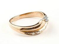 アクアマリンリング指輪ダイヤモンドダイヤスパイラルリングピンキーリングピンクゴールドk1818金3月誕生石ストレートファッションリング