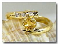 ピンキーリングダイヤモンドシトリンk18ダイヤダイヤ11月誕生石ストレートファッションリング