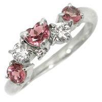 ピンクトルマリンダイヤモンドプラチナリング指輪ハート10月誕生石ダイヤファッションリング