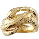 ピンキーリング ブラックダイヤモンド シトリン スネーク 双頭のへび 蛇 指輪 イエローゴールドk18 18金...