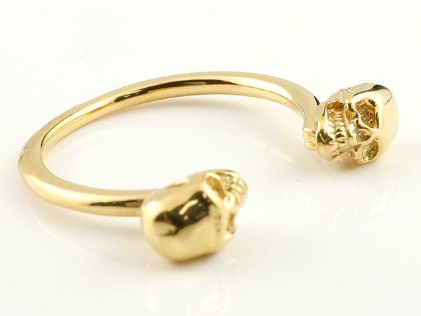 メンズ ドクロ フォークリング 指輪 フリーサイズ ピンキーリング イエローゴールドk10 髑髏 スカル 男性用 10金 ファッション エンゲージリングのお返し