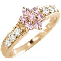 【送料無料】ピンクサファイアダイヤモンド取り巻きリング指輪ピンクゴールドk18フラワー18金ダイヤ9月誕生石ストレート