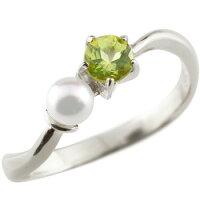 【送料無料】ペリドットベビーパールリング指輪ピンキーリングホワイトゴールドk1818金8月誕生石ストレート