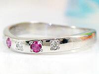 【送料無料】ルビ-リングダイヤモンド指輪ホワイトゴールドk18ピンキーリング7月誕生石18金ダイヤストレート
