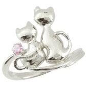 猫 リング ピンクサファイア 指輪 シルバー 9月誕生石 ストレート 贈り物 誕生日プレゼント ギフト バレンタイン ホワイトデー