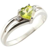 【送料無料】ハートリングペリドットダイヤモンド指輪ホワイトゴールドk1818金ダイヤ8月誕生石