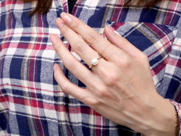 パールリング 真珠 フォーマル  ピンクトルマリン ピンクゴールドk10 リング ダイヤモンド ピンキーリング ダイヤ 指輪 10金 宝石