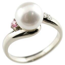 パールリング 真珠 フォーマル ピンクトルマリン ホワイトゴールドk18 リング ダイヤモンド ピンキーリング ダイヤ 指輪 18金 宝石 送料無料 LGBTQ 男女兼用