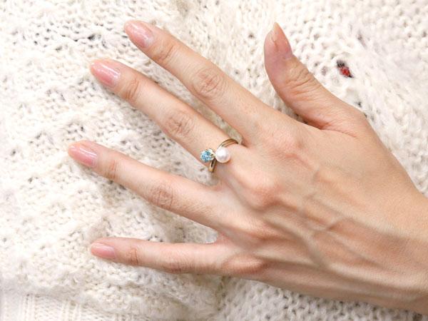 パールリング 真珠 フォーマル ブルートパーズ プラチナ900 リング ピンキーリング 指輪 宝石 妻 嫁 奥さん 女性 彼女 娘 母 祖母 パートナー
