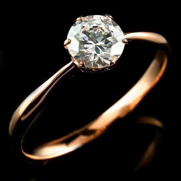 エンゲージリング ピンクゴールドk18 ダイヤモンド 大粒 一粒 指輪 婚約指輪 18金 リング ストレート ギフト プレゼント 贈り物 ファッション 18k 妻 嫁 奥さん 女性 彼女 娘 母 祖母 パートナー