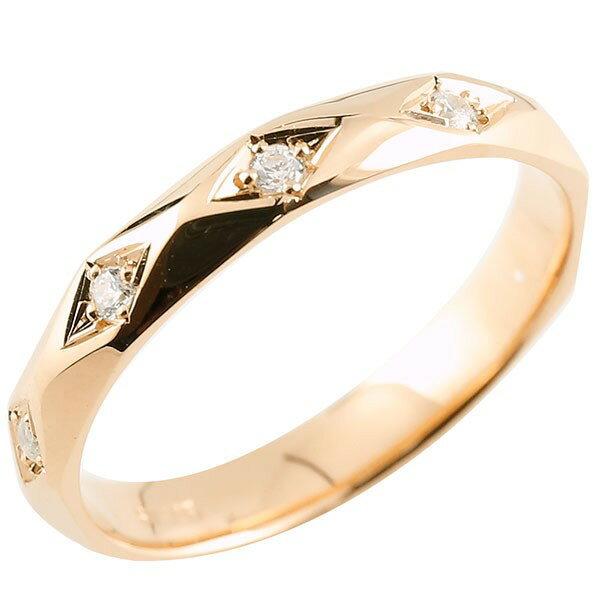 ピンキーリング ダイヤモンド ピンクゴールドk18 ダイヤリング 指輪 婚約指輪 カットリング 菱形 18金 宝石