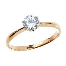鑑定書付き VSクラス エンゲージリング ピンクゴールドk18 ダイヤモンド ダイヤ 大粒 一粒 婚約 指輪 18金 リング ストレート プレゼント 女性 送料無料 人気