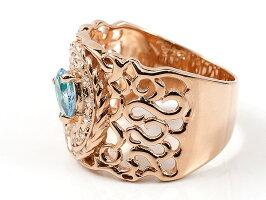 リングペイズリーダイヤモンドブルートパーズピンクゴールドk10婚約指輪ピンキーリング指輪透かし幅広エンゲージリング10金レディース母の日