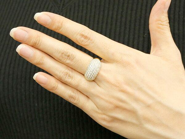 パヴェ 婚約指輪 リング ダイヤモンド 2ct イエローゴールドk18 ピンキーリング ダイヤ 指輪 幅広 エンゲージリング 18金 宝石 レディース 妻 嫁 奥さん 女性 彼女 娘 母 祖母 パートナー