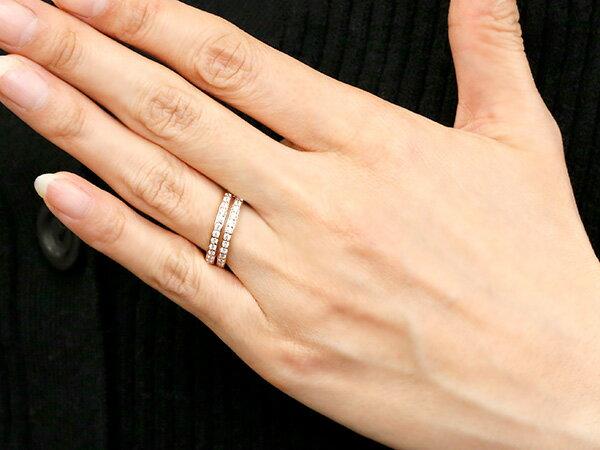 婚約指輪 リング イエローゴールドk18 キュービックジルコニア エンゲージリング 2連 指輪 ピンキーリング 18金 レディース