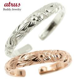 【ポイント10倍】ハワイアンジュエリー ペアリング 結婚指輪 マリッジリング ホワイトゴールドk10 ピンクゴールドk10 フリーサイズ ハワイアンリング 地金 10金 カップル 2本セット 送料無料 の 2個セット 人気