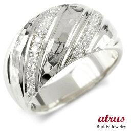【ポイント10倍】婚約 指輪 シルバー リング キュービックジルコニア レディース 指輪 sv925 ピンキーリング リング 幅広 槌目 槌打ち ロック仕上げ 女性 送料無料 LGBTQ 男女兼用