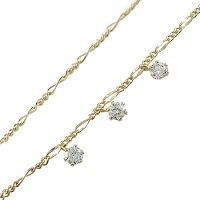 【送料無料】ダイヤモンドブレスレットトリロジーイエローゴールドk1818金チェーンダイヤ