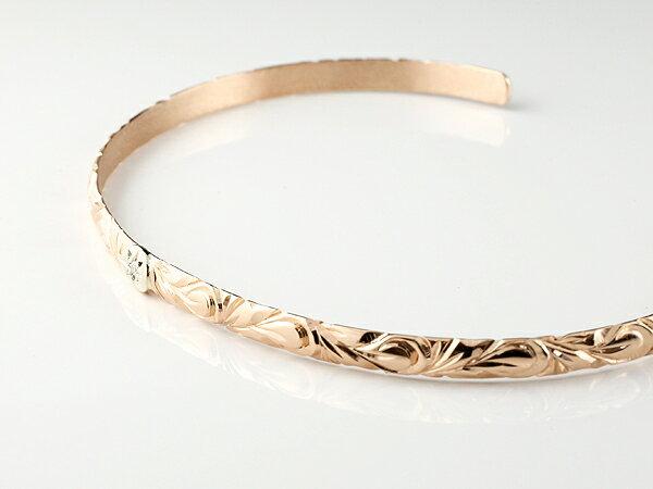 メンズ バングル ハワイアン ピンクゴールドk18 プラチナ900 ブレスレット ダイヤモンド バングル 18金 男性用 FF 贈り物 誕生日プレゼント ギフト ファッション エンゲージリングのお返し
