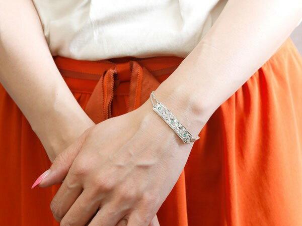 ブレスレット ハワイアンジュエリー プレート エメラルド ホワイトゴールドk18 ダイヤモンド レディース ミル打ち ダイヤ 18金 宝石 妻 嫁 奥さん 女性 彼女 娘 母 祖母 パートナー