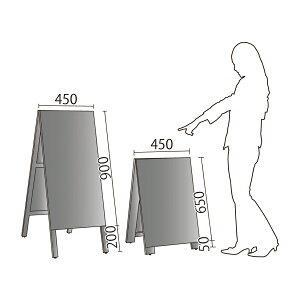 A型看板(中)カラー黒板ブラック9014445木製両面タイプ・チョーク用