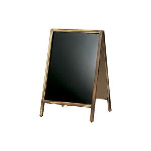 A型看板(小)焼杉枠ブラックボードABS-61B木製両面・マグネット使用可・マーカー用