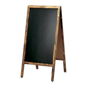 A型看板(大)焼杉枠ブラックボードABS-31B木製両面・マグネット使用可・マーカー用