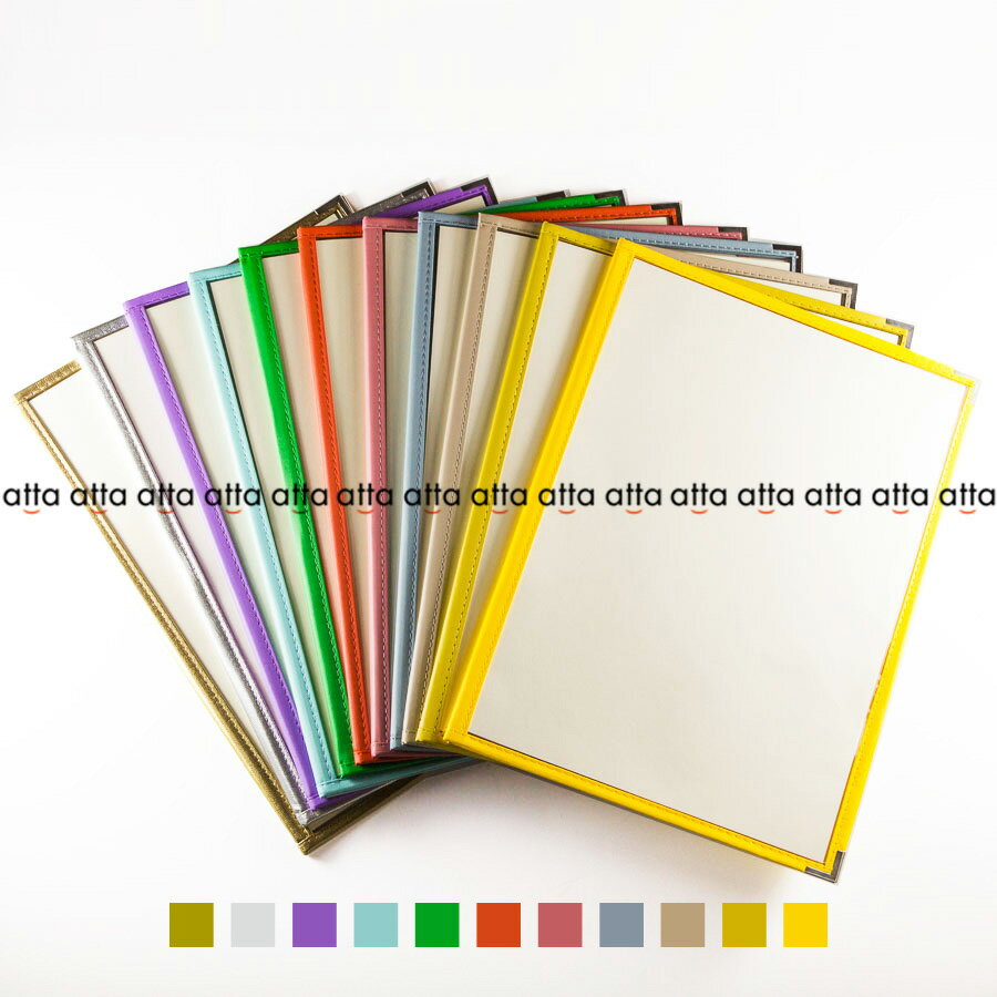 別注テーピングカラー クリアメニューブック 【A4・4ページ】 LTA-44 SPC 合皮クリアテーピングメニュー シルバー・ゴールド・若草・グレー・スカイブルー・パープル・ピンク・オレンジ・ベージュ・からし・イエロー