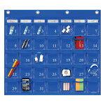 ウォールポケット(レザー調PVC×クリアー)カレンダーポケットMサイズ(35ポケット)ブルーW-4164990630416066【大判レターフォルダー・壁掛けポケット・サキ壁掛け収納】