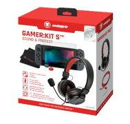 SnakeByte任天堂Switchヘッドセット&本体保護パーツセットGAMER:KITS™ゲーマー:キットSインラインコントローラー付きヘッドセット延長ケーブル強化ガラス製スクリーンプロテクタースティックキャップ同梱