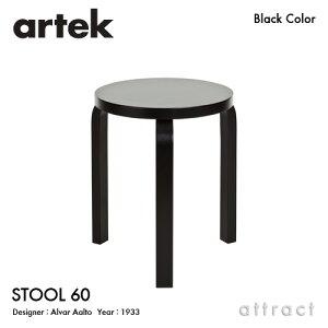 アルテック Artek STOOL 60 スツール 60 3本脚 バーチ材 スタッキング可能 デザイン:Alvar Aalto 座面・脚部 ブラックラッカー仕上げ フィンランド 北欧 【RCP】 【smtb-KD】