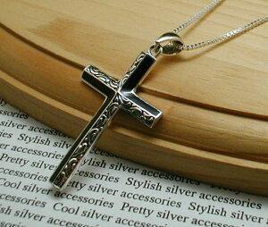 アラベスク オニキス 十字架 ネックレス クロス シルバーネックレス メンズネックレス シルバー925 シルバーペンダント メンズ シルバー ネックレス 925 アクセサリー クロスネックレス 十字架ネックレス 男 女 兼用