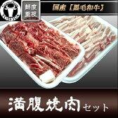 焼肉セット 国産 黒毛和牛カルビ+もち豚バラ 計1kg 『満腹 焼き肉セット』