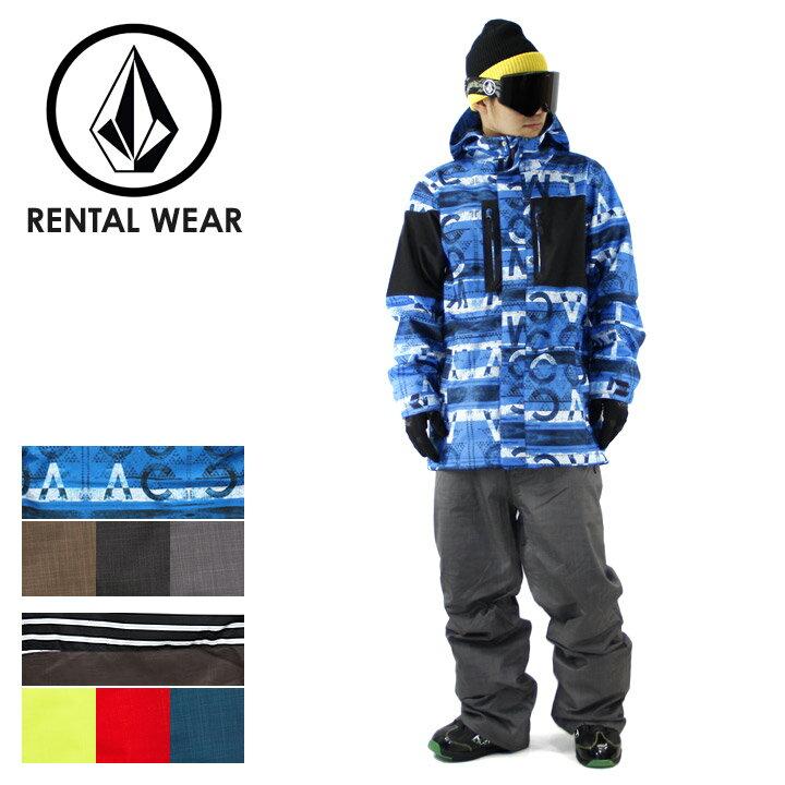 【男性用】 レンタル スキーウェア スノーボードウェア メンズ 上下セット 【Type:D】 【 J-EX HALF SQUARE JACKET 】 【 CARBON PANT 】 【 VOLCOM スノーウェア ジャケット パンツ フード パーカー スノーパンツ スノーボード 冬