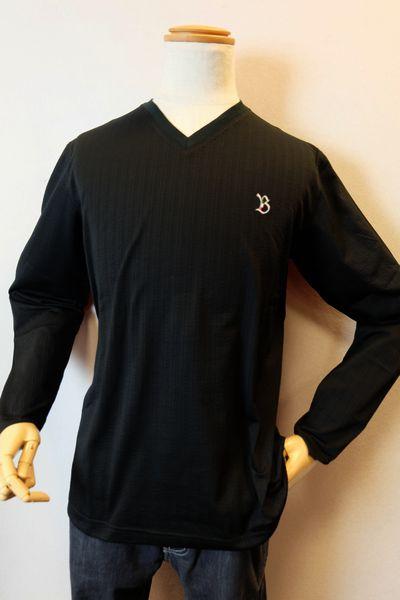 【セール35%OFF】 バラシ barassi 【ロングTシャツ】【2019春夏新作】【メンズウェア】【カットソー】【シアサッカー】【バラシ服】 シアサッカーVネックロングTシャツ ブラック