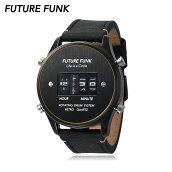 FUTUREFUNKフューチャーファンクFF102ローラー式ウォッチレザーベルトブラック腕時計70年代80年代レトロ