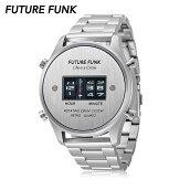 FUTUREFUNKフューチャーファンクFF102ローラー式ウォッチメタルバンドシルバー腕時計70年代80年代レトロ