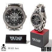 ボルテージ腕時計BREAKERブレイカースカルスワロフスキークリスタルウォッチ/スカル/ドクロ/ガイコツ/ロック/バイカーVOLTAGE