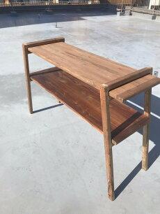 無垢材組立式2段棚折りたたみ展示ラック