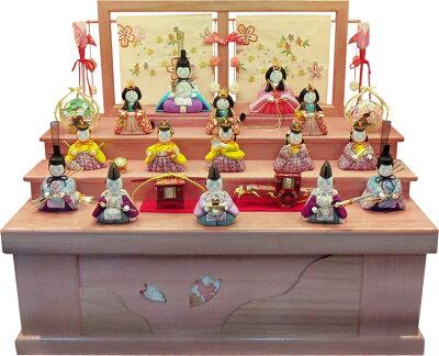 【特選】 木目込 ゆうき作 宝寿雛十五人飾 収納箱 ひな人形 雛人形 【smtb-KD】