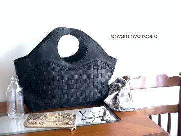レザークリームプレゼント robita ロビタ anyam nya robita メッシュレザー トートバッグ AN-050L ブラック