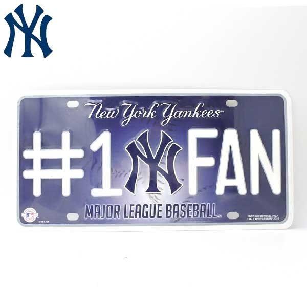 ニューヨーク ヤンキース ナンバープレート(#1 FAN) インテリアに MLB NY Yankeesファン ネコポス発送可能 グッズ メジャーリーグ 野球 ベースボール画像