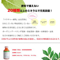 バクチャー植物/液体肥料/植物活性剤/栄養剤/土壌改良剤/微生物活性化/土壌改良/花/果物/野菜/ガーデニング/自家栽培