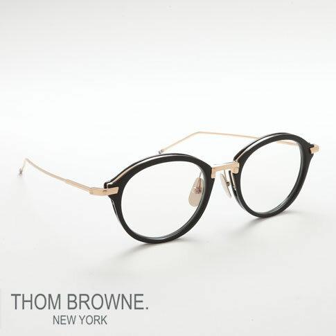 トムブラウン メガネ THOM BROWNE. NEW YORK EYEWEAR(トムブラウン ニューヨーク)トムブラウン 眼鏡 [TB-011A 49size BLACK SHINY 12K GOLD BRIDGE&TEMPLES] TB-011-A-BLK-GLD-49