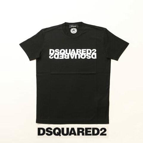 【2020半期決算セール】ディースクエアード / DSQUARED2 / ディースクエアード 半袖 Tシャツ DSQUARED2xDSQUARED2反転プリント クルーネックTシャツ カットソー ブラック s74gd0635-900