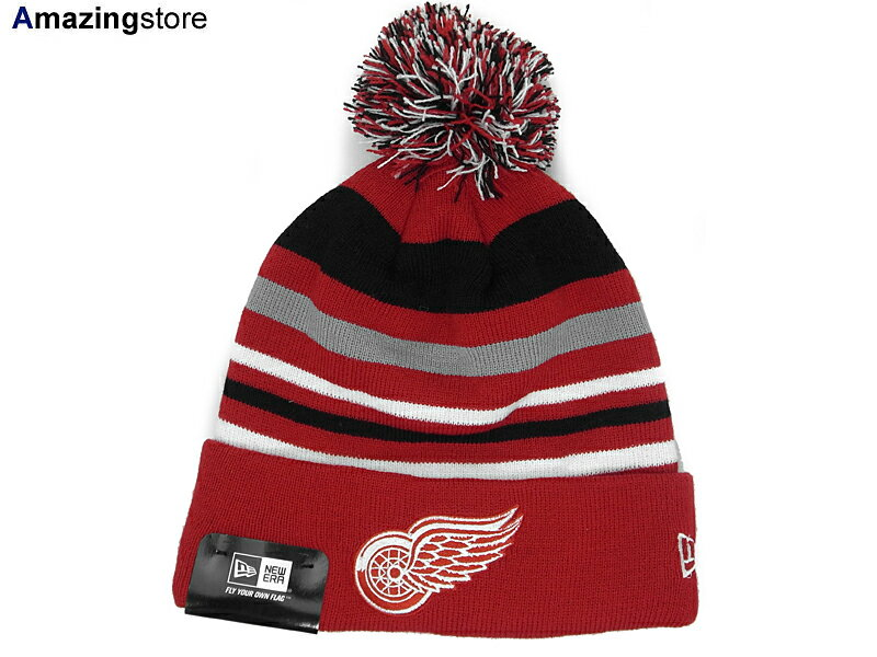 メンズ帽子, キャップ NEW ERA DETROIT RED WINGS STRIPEOUT KNIT BEANIERED-BLK-WHT-GREY new era newera JORDAN LA NY BK SUPREME