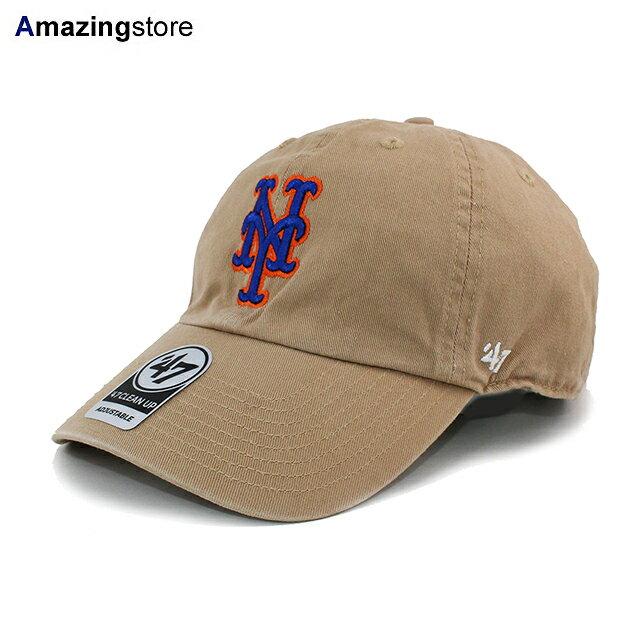 メンズ帽子, キャップ 47 MLB CLEAN UP STRAPBACK CAPKHAKI 47BRAND NEW YORK METS 206RE