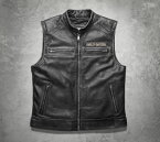 【98109-16vm】 Passing Link Leather Vest S/M/L/XL ハーレーアパレル